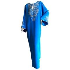 Oscar de la Renta Vintage Blue Caftan with Silver and Pearl Embellishments Sz M