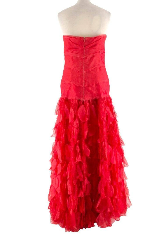 Red Oscar de la Renta vintage couture red silk-organza gown  US 10 For Sale