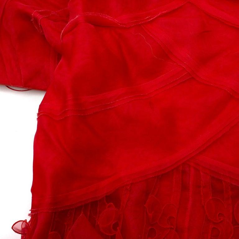 Oscar de la Renta vintage couture red silk-organza gown  US 10 In Good Condition For Sale In London, GB