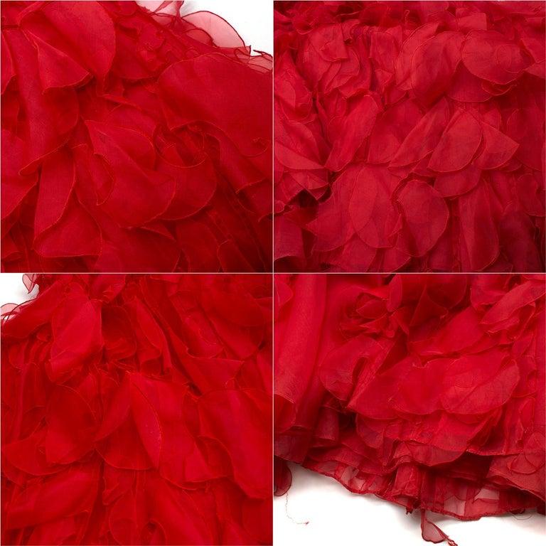 Oscar de la Renta vintage couture red silk-organza gown  US 10 For Sale 1