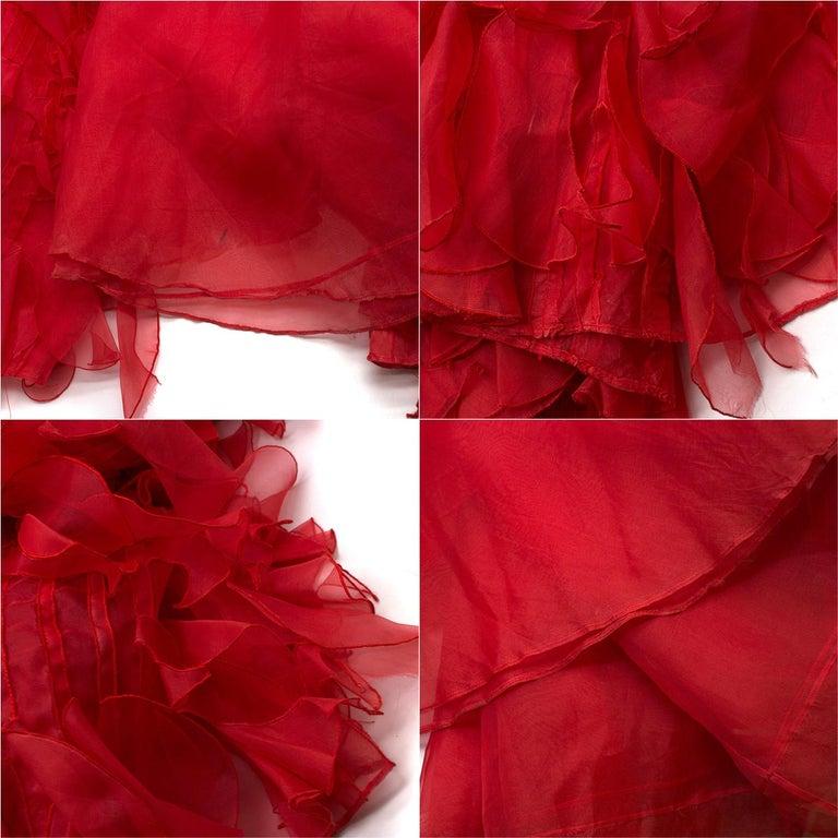 Oscar de la Renta vintage couture red silk-organza gown  US 10 For Sale 2