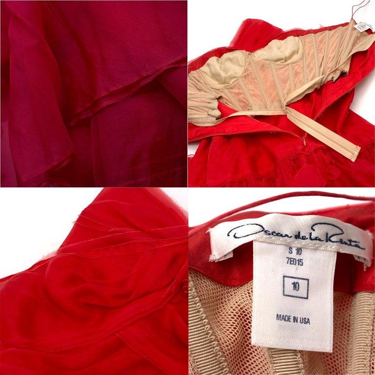 Oscar de la Renta vintage couture red silk-organza gown  US 10 For Sale 3
