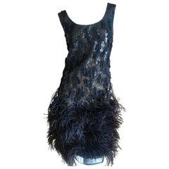 Oscar de la Renta Vintage Embellished Little Black Dress with Feather Trim