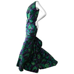 Oscar de la Renta Vintage Floral Evening Dress with Grand Mermaid Train and Belt