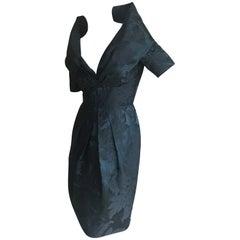 Oscar de la Renta Vintage Jacquard Cocktail Dress with Plunging Portrait Collar