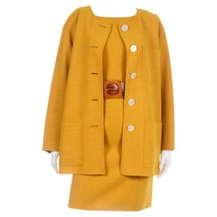 Oscar de la Renta Vintage Mustard Yellow Dress and Jacket Suit with Belt