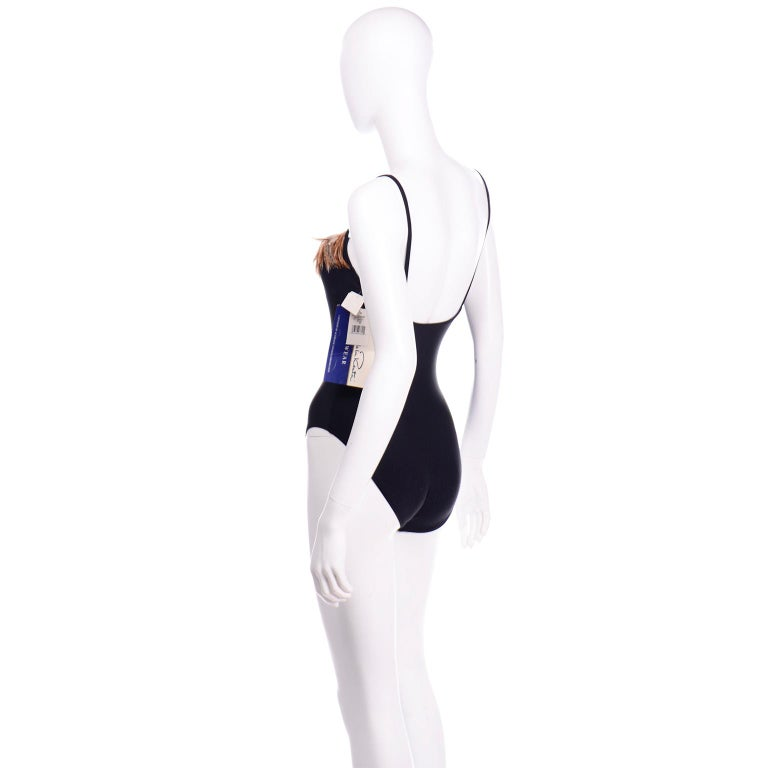 Oscar de la Renta Vintage One Piece Swimsuit W Feathers New with Original Tags In New Condition For Sale In Portland, OR