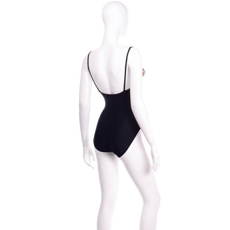 Oscar de la Renta Vintage One Piece Swimsuit W Feathers New with Original Tags For Sale 1
