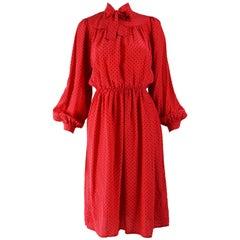 Oscar de la Renta Vintage Red Silk Puffed Sleeve Dress