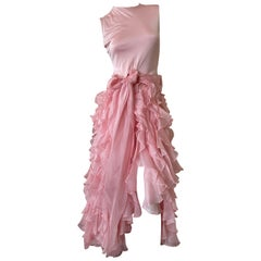 Oscar de la Renta Vintage Ruffled Pink Evening Dress with Flamenco Style Skirt