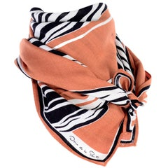 Oscar de la Renta Vintage Scarf in Tan Brown Black and White Zebra Print