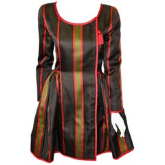 Oscar de la Renta Vintage Striped Silk Satin Evening Coat Dress