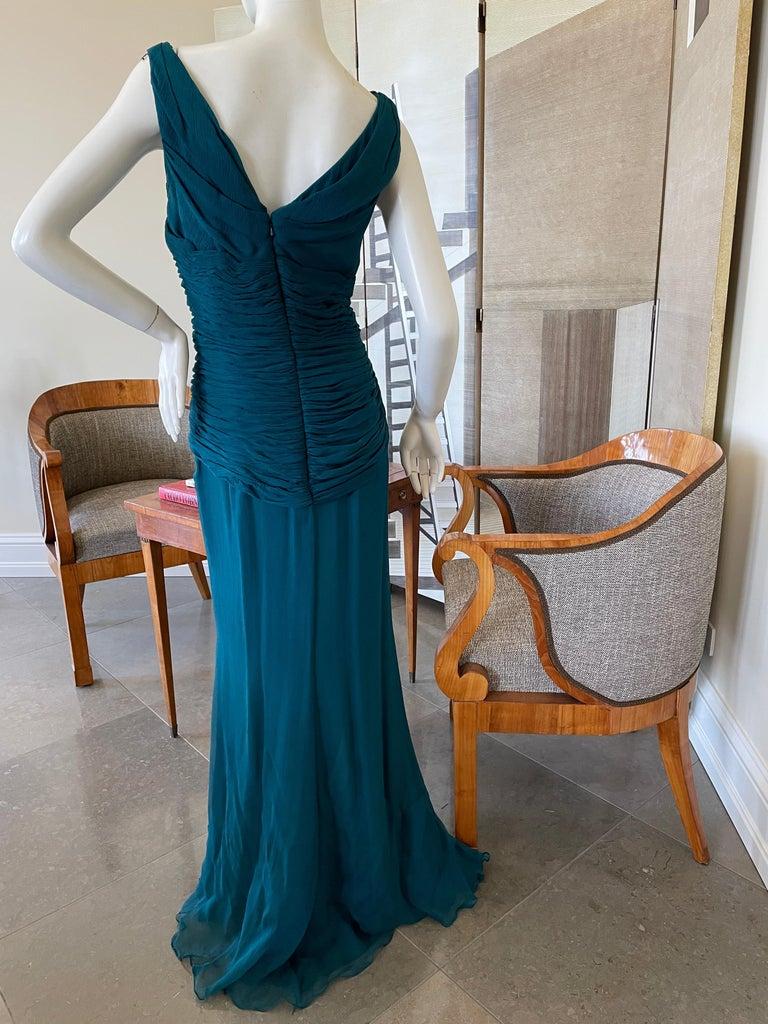 Oscar de la Renta Vintage Teal Blue Silk Shirred Evening Dress 6