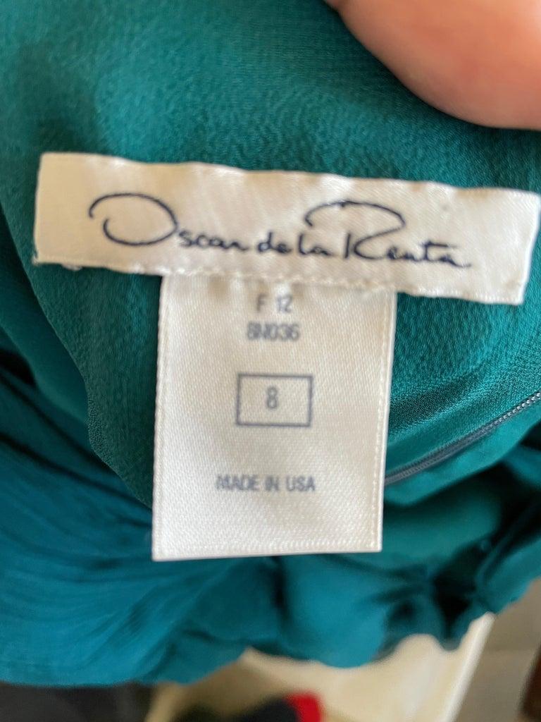 Oscar de la Renta Vintage Teal Blue Silk Shirred Evening Dress 7