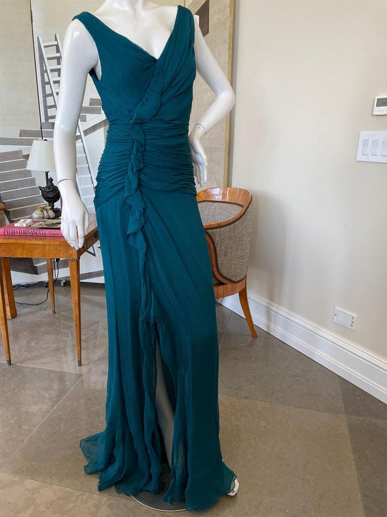 Oscar de la Renta Vintage Teal Blue Silk Shirred Evening Dress In Good Condition In San Francisco, CA