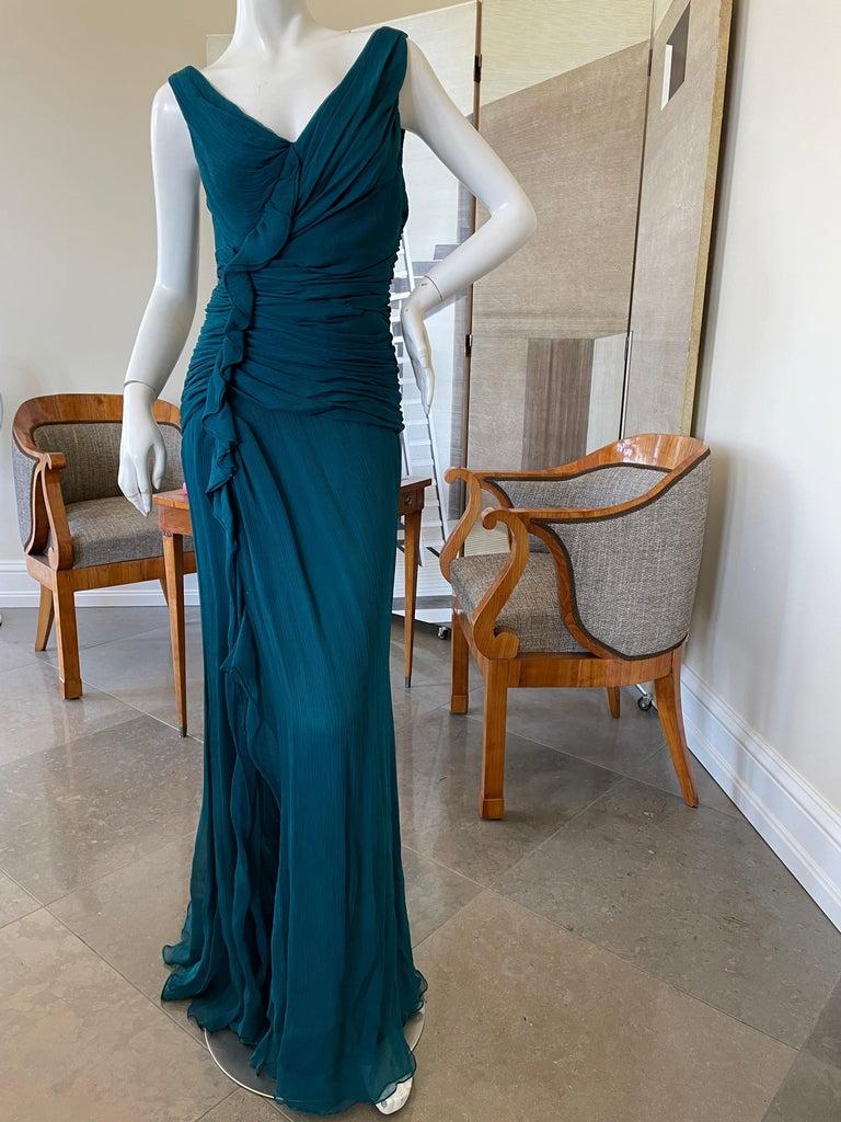 Women's Oscar de la Renta Vintage Teal Blue Silk Shirred Evening Dress