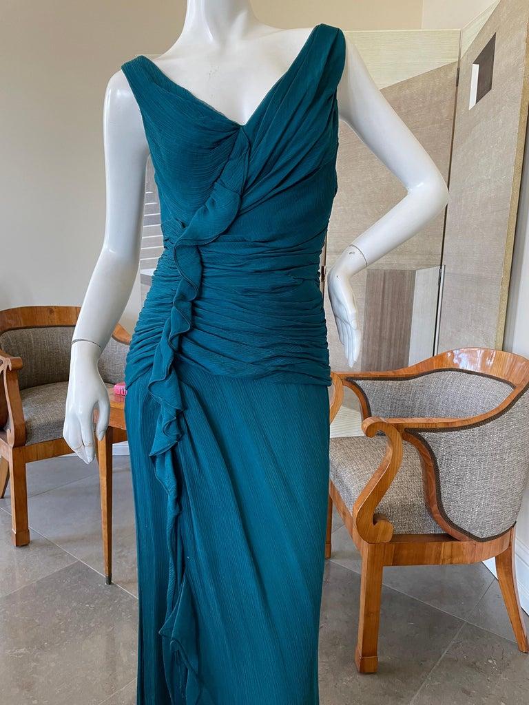 Oscar de la Renta Vintage Teal Blue Silk Shirred Evening Dress 1