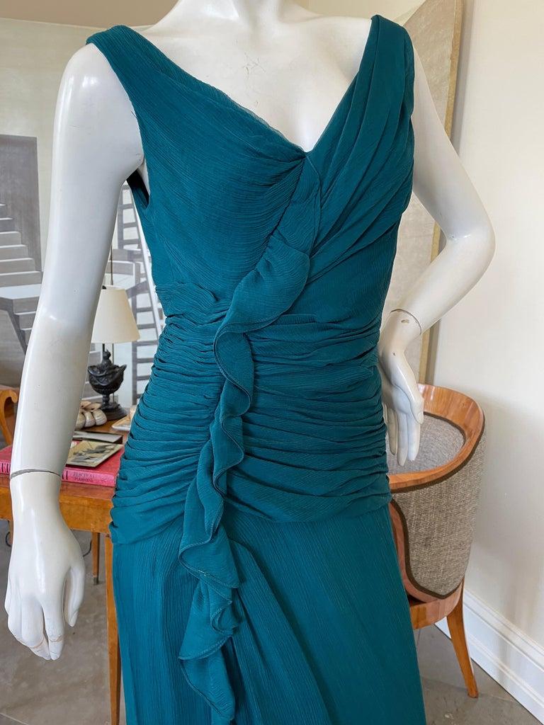 Oscar de la Renta Vintage Teal Blue Silk Shirred Evening Dress 2