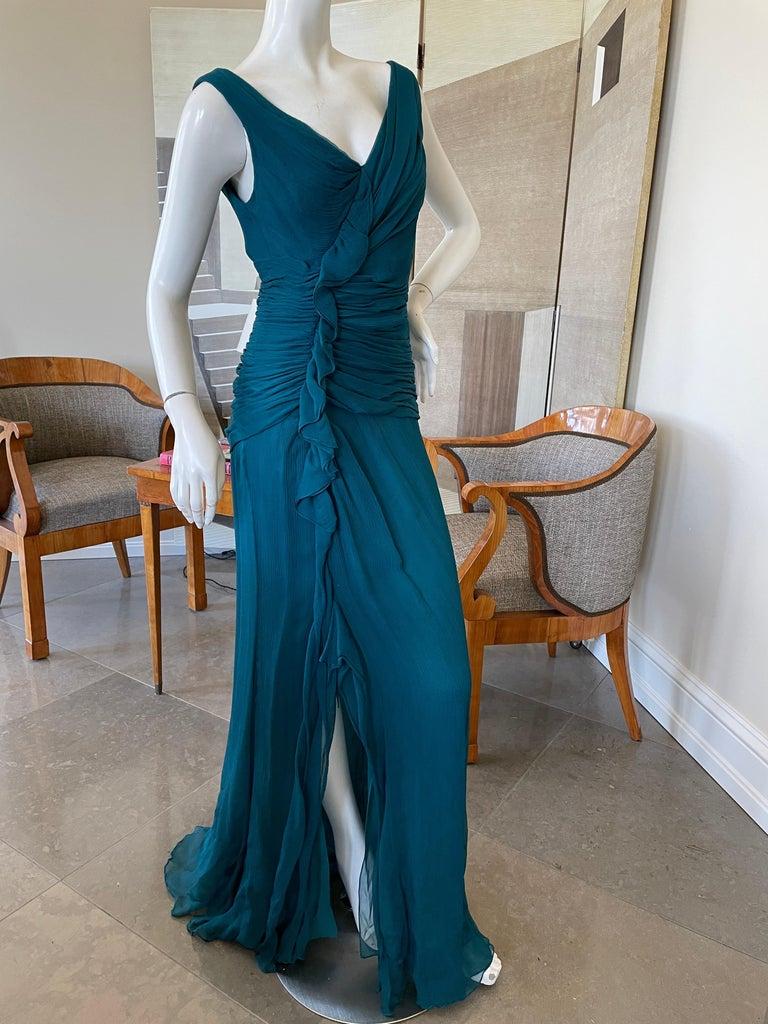 Oscar de la Renta Vintage Teal Blue Silk Shirred Evening Dress 3