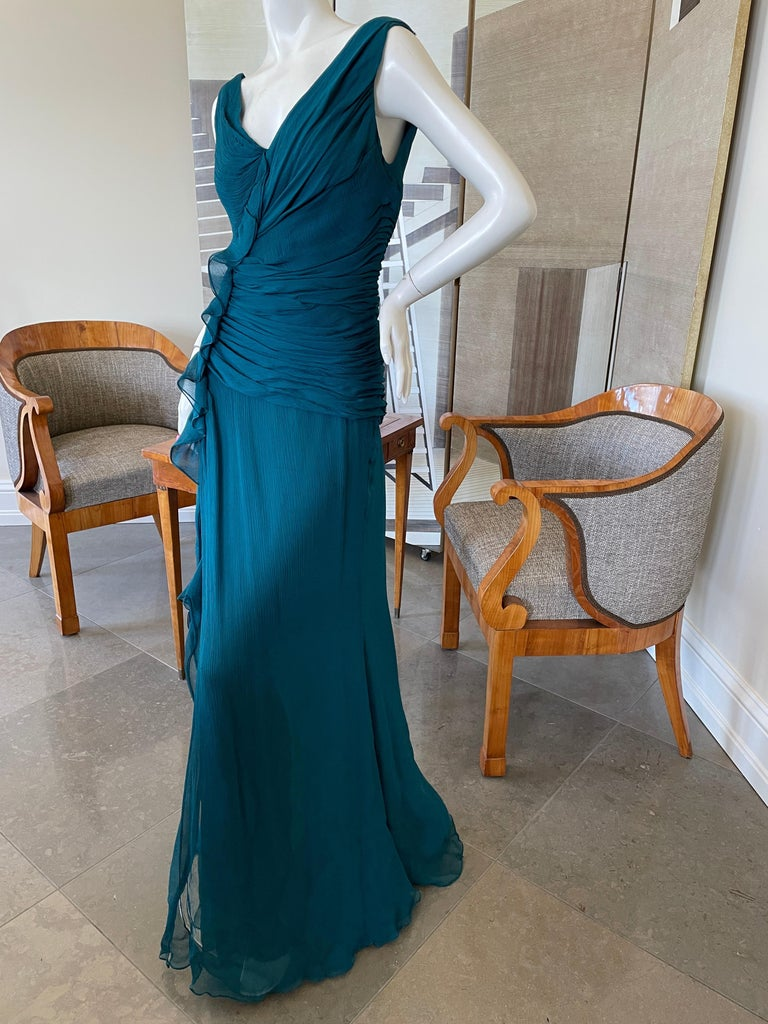 Oscar de la Renta Vintage Teal Blue Silk Shirred Evening Dress 4