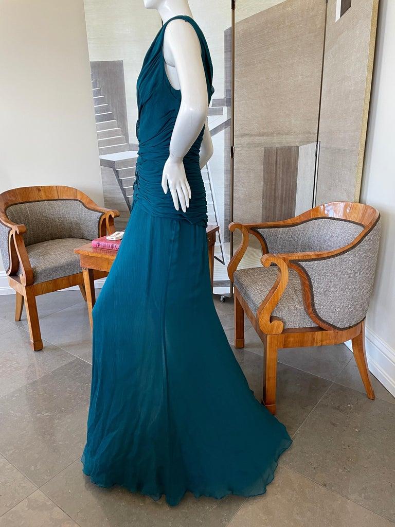 Oscar de la Renta Vintage Teal Blue Silk Shirred Evening Dress 5