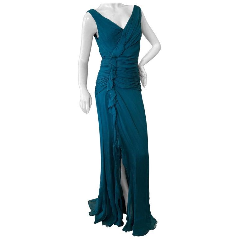 Oscar de la Renta Vintage Teal Blue Silk Shirred Evening Dress