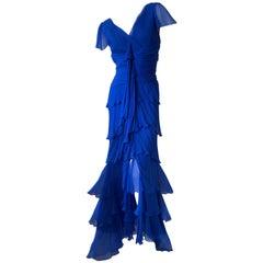 Oscar de la Renta Vintage Tiered Cobalt Blue Silk Evening Dress