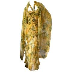 Oscar de la Renta Vintage Yellow Ruffled Evening Dress with Matching Shawl