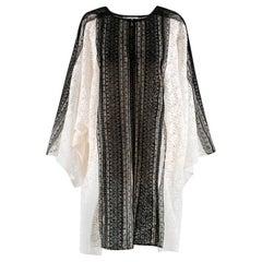 Oscar de la Renta White & Black Lace Oversize Dress - Size M