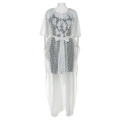 Oscar de la Renta White Crochet Maxi Belted Kaftan S