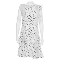 Oscar de la Renta White Painted Effect Lace Ruffle Detail Short Dress M