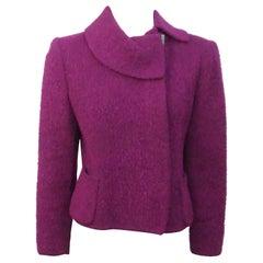 Oscar de la Renta Wine Wool Jacket with large collar-8