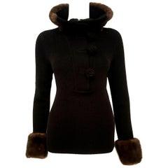 Oscar de la Renta Wool Crochet Sweater W/ Denmark Mink Trim Size M