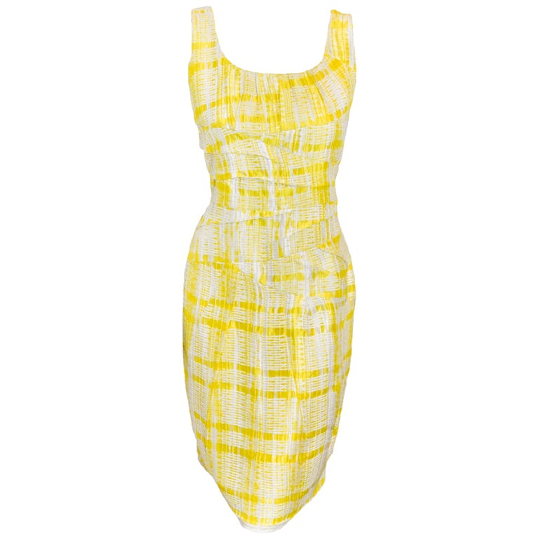 Oscar de la Renta Yellow and White Sleeveless Textured Dress For Sale
