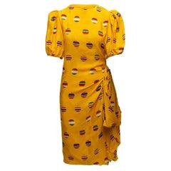Oscar de la Renta Yellow & Multicolor Puff Sleeve Dress