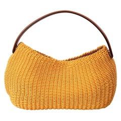 Oscar de la Renta Yellow Woven Bag with Leather Strap