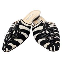 Oscar de la Renta Zebra Beaded Slides w/ Slit 40.5