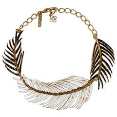 Oscar de le Renta Black and White Enamel Palm Leaf Collar Necklace in Gold