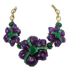Oscar de le Renta Purple and Green Choker Necklace