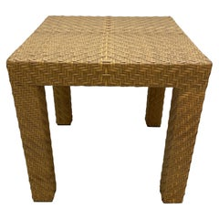 Oscar Dela Renta Cane and Wood End Tables for Century Furniture