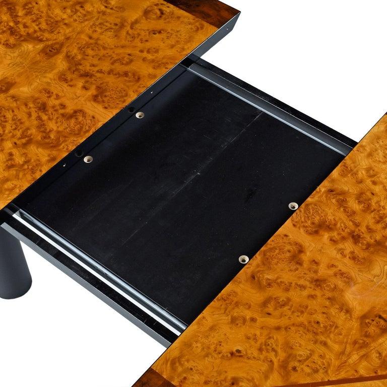 Mid-Century Modern Oscar Dell Arredamento Italian Modern Burl Maple Dining Table by Miniforms For Sale