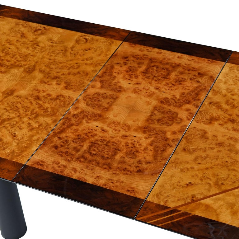 Oscar Dell Arredamento Italian Modern Burl Maple Dining Table by Miniforms In Good Condition For Sale In Saint Petersburg, FL