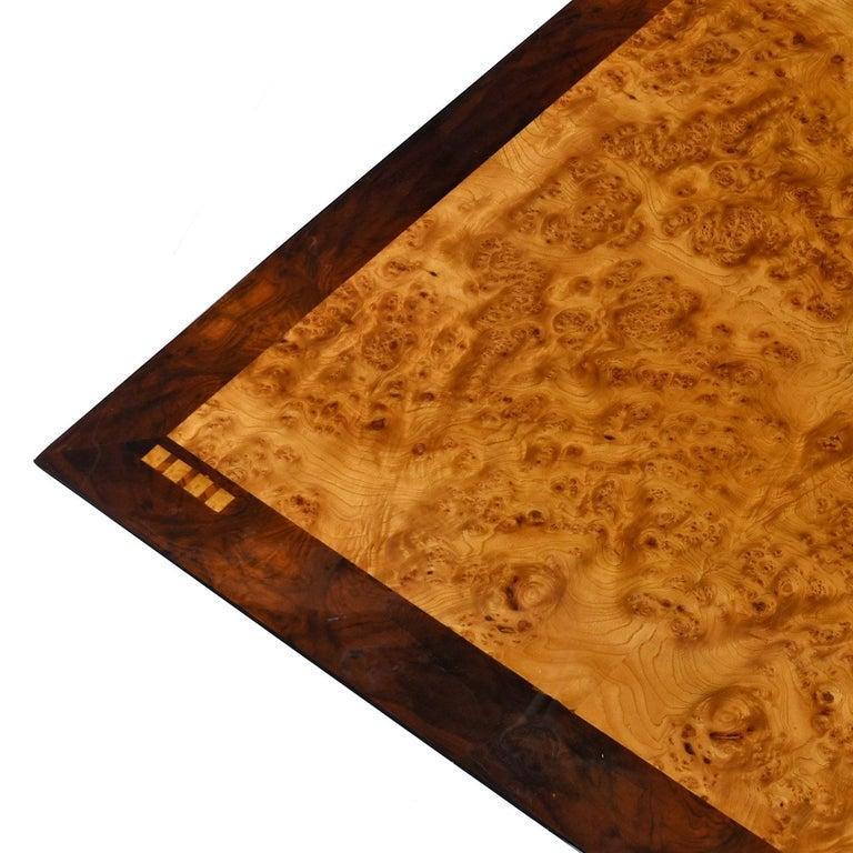 Late 20th Century Oscar Dell Arredamento Italian Modern Burl Maple Dining Table by Miniforms For Sale