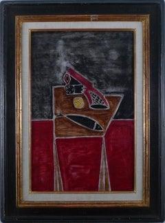"""Nature morte au revolver"", 20th Century Oil on Panel by Oscar Dominguez"