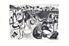 Seaside - Original Lithograph by Oscar Dominguez - First half of  1900