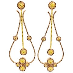 10.05 Carat Pink & Yellow Diamond Chandelier Earrings in Rose & Yellow Gold
