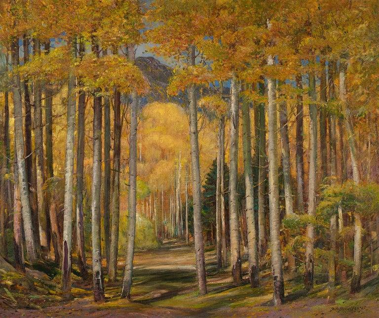 Oscar Edmund Berninghaus Landscape Painting - Autumn Aspen Forest