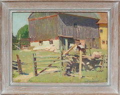 Antique Early American Modernist California Horse Farm Signed Barn Oil Painting