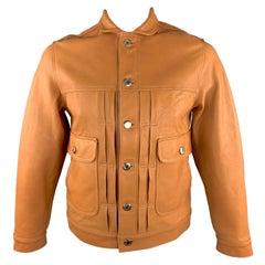 OSCAR H. GRAND Size M Tan Leather Flap Pockets Silver Buttons Back Belt Trucker