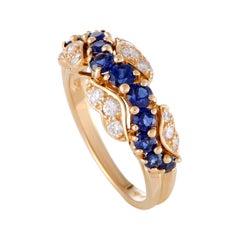 Oscar Heyman 0.25 Carat Diamond and Sapphire 18 Karat Yellow Gold Band Ring